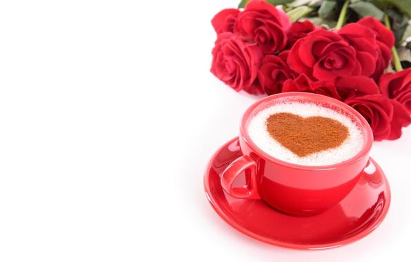 Картинка цветы, кофе, розы, букет, чашка, красные, белый фон, сердечко, День святого Валентина, блюдце