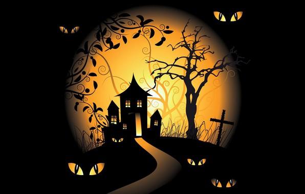 Картинка vector, Halloween, moon, trees, eyes, holiday, black background, spooky, scary house, vector art, graveyards