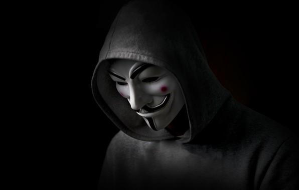 Картинка Vendetta, Black, Anonymous, Man, Hood, Sight
