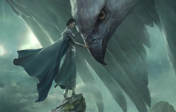 Картинка небо, девушка, скалы, печаль, женщина, рисунок, фэнтези, арт, прощание, меланхолия, by Xiaodi Jin, гигантский орел, …