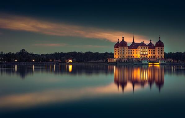 Картинка вечер, Германия, Germany, Moritzburg