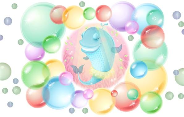Картинка пузыри, арт, кит, детская, фонтанчик