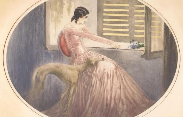 Картинка собачка, 1929, Louis Icart, Мадам Бовари