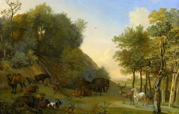 Картинка масло, картина, холст, Паулюс Поттер, мифология, Орфей и Животные