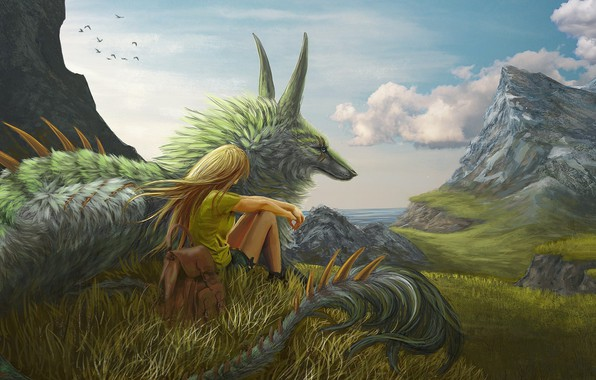 Картинка girl, grass, fantasy, Dragon, sky, trees, sea, landscape, mountains, clouds, blonde, artwork, fantasy art, meadow, …