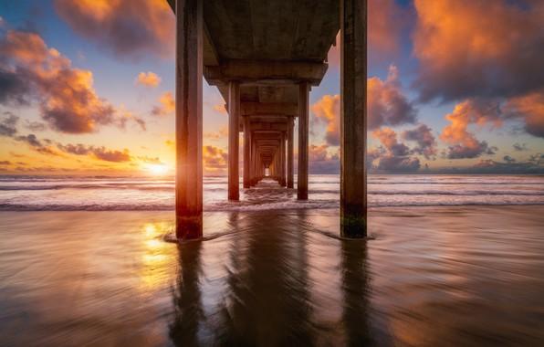 Фото обои мост, берег, море