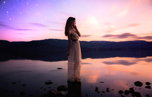 Картинка девушка, озеро, звёзды, платье, Lichon