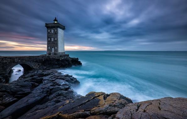 Картинка море, берег, маяк, France, Brittany, Le Conquet