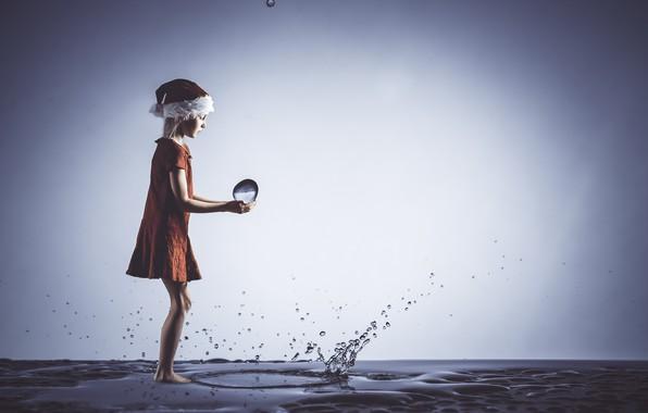 Картинка вода, капли, девочка