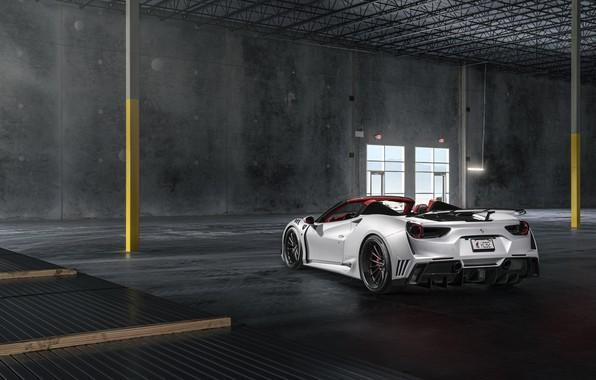 Картинка Ferrari, White, Supercar, Wide, Rear, 488, Rearl