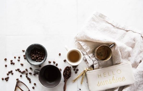 Картинка надпись, кофе, кофейные зёрна