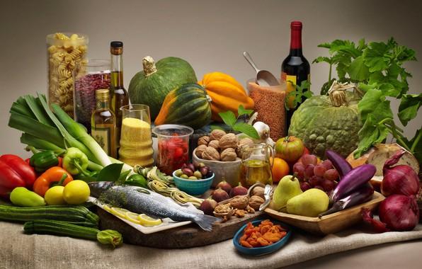 Картинка вино, лимон, рыба, лук, виноград, баклажан, тыква, перец, орехи, овощи, груши, макароны, крупа, ассорти, цуккини, …