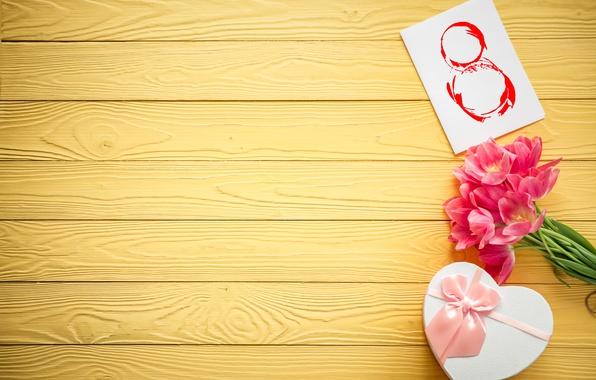 Картинка цветы, тюльпаны, love, 8 марта, heart, wood, pink, romantic, tulips, gift, розовые тюльпаны