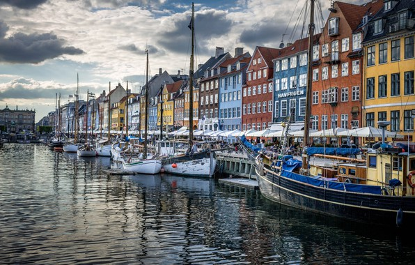 Картинка дома, Дания, набережная, Копенгаген