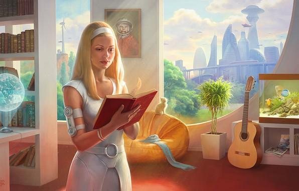 Обои комната, Девушка, город будущего, Гагарин, космоc, с Земли, СССР-2061