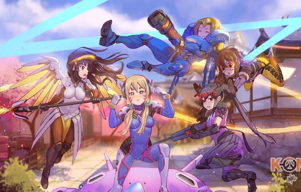 Картинка crossover, Akiyama Mio, Kotobuki Tsumugi, Nakano Azusa, Tainaka Ritsu, Hirasawa Yui, K-ON!, Overwatch, Tracer, Mercy, …