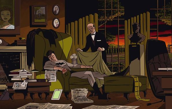 Картинка Фото, Ночь, Кресло, Дом, Бэтмен, Костюм, Забота, Семья, Герой, Комикс, Супергерой, Hero, Home, Batman, Night, …