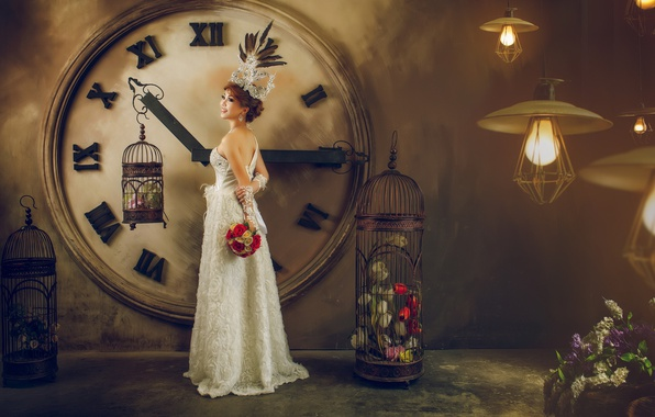 Картинка девушка, цветы, часы