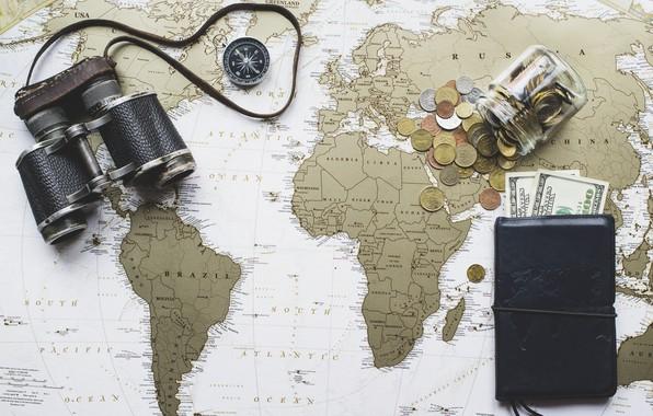 Картинка карта, деньги, бинокль, доллары, карта мира, мелочь, кошелёк