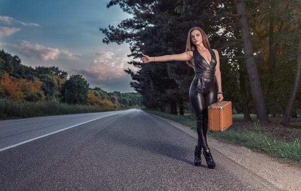 Картинка лес, девушка, деревья, природа, поза, макияж, фигура, шоссе, прическа, костюм, туфли, чемодан, шатенка, жест, автостоп, …