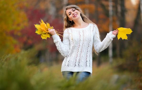 Фото обои боке, девушка, осень, листья