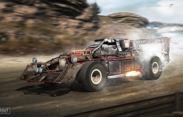 Картинка горы, скорость, автомобиль, Crossout racer