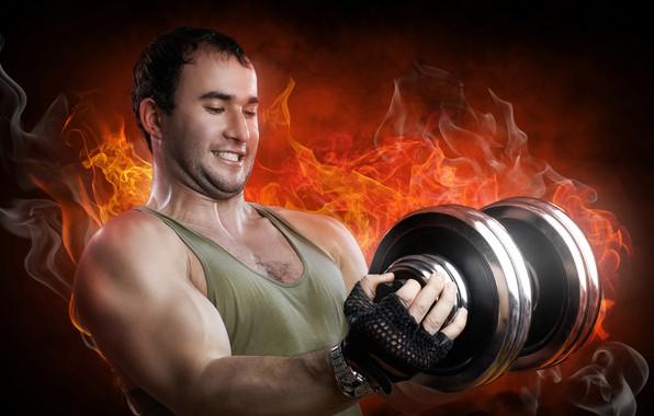 Картинка фон, огонь, пламя, сила, дым, часы, майка, перчатки, спортсмен, мужчина, железо, мышцы, тренировка, атлет, бицепс, …