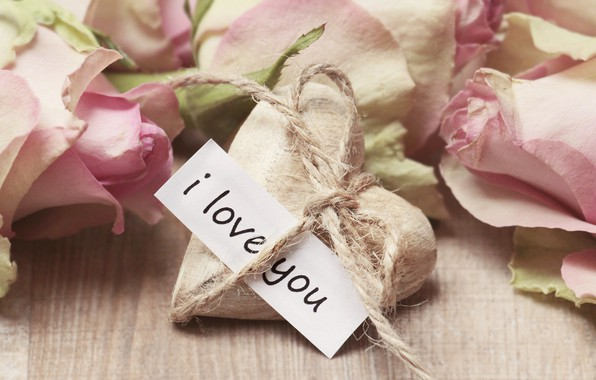 Картинка любовь, цветы, розовый, сердце, розы, букет, лепестки, признание