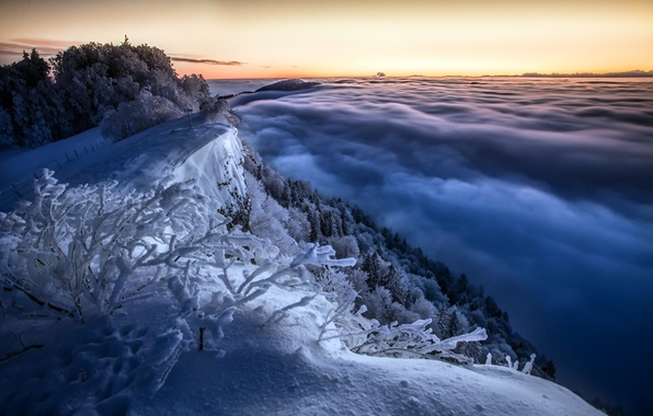 Картинка зима, небо, горы, утро