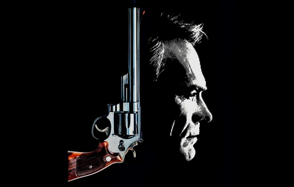 Картинка gun, weapon, man, classic, face, Clint Eastwood, revolver, Smith & Wesson, 1988, S&W, The Dead …