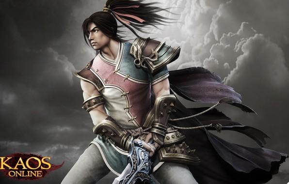 Картинка оружие, игра, доспехи, воин, арт, персонаж, лвл, Kaos Online