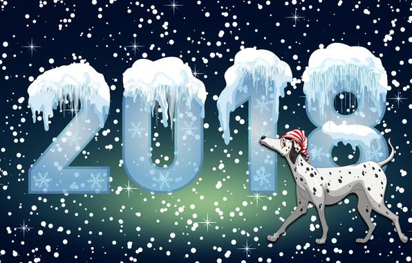 Картинка Зима, Минимализм, Собака, Снег, Фон, Новый год, Праздник, Настроение, 2018, Год Собаки