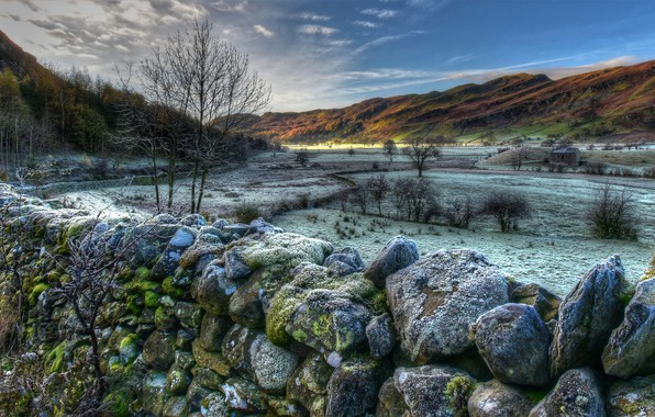 Картинка зима, снег, деревья, горы, камни, холмы, поля, Англия, мох, HDR, долина, Cumbria, Lake District National …