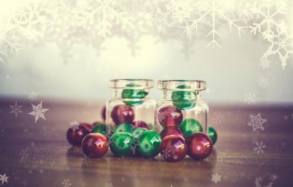 Картинка макро, снежинки, пузырьки, бисер, бутылочки