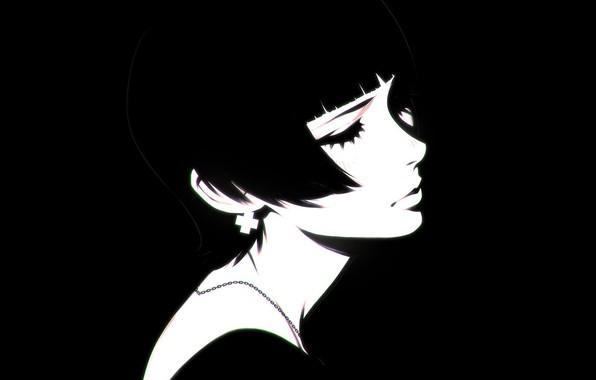 Картинка ресницы, стрижка, черно-белая, шея, челка, закрытые глаза, портрет девушки, Илья Кувшинов, цепочка на шее