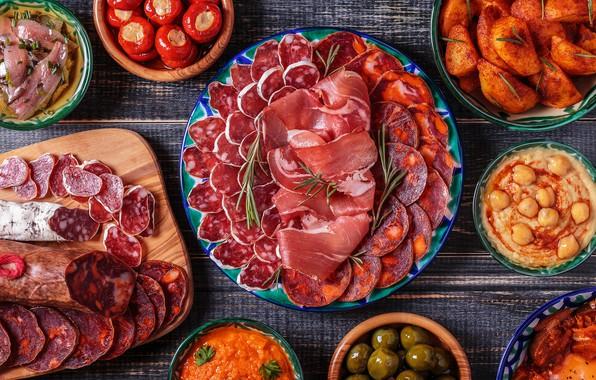 Картинка рыба, помидоры, ассорти, колбасная нарезка