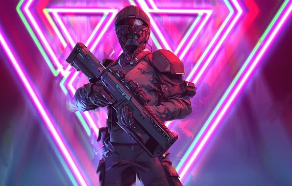 Картинка soldier, cyberpunk, rifle