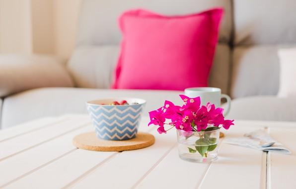 Картинка цветы, ягоды, кофе, букет, завтрак, ваза, овсянка
