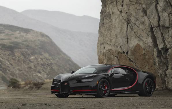 Картинка Bugatti, Black, Turbo, RED, V16, VAG, Chiron