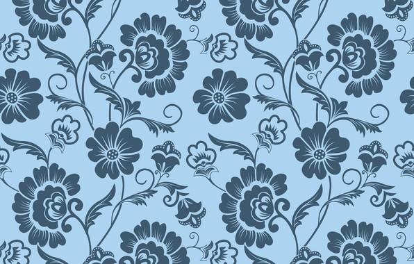 Картинка цветы, фон, узор, текстура, орнамент, винтаж