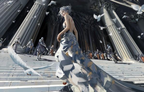 Картинка girl, fantasy, armor, long hair, dress, blue eyes, birds, elf, digital art, knights, artwork, architecture, …