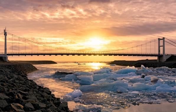 Картинка Sunset, Iceland, Vestur-Skaftafellssysla, Glaicer Lagoon