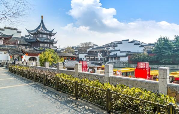 Картинка Город, Улица, Китай, Храм