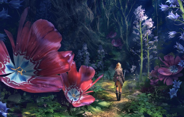 Обои Colorful Girl Fantasy Forest Flowers Explorer