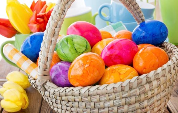 Картинка цветы, корзина, весна, colorful, Пасха, тюльпаны, happy, flowers, tulips, spring, Easter, eggs, decoration, яйца крашеные