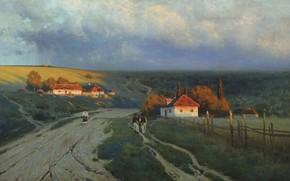 Обои Вечер на Украине, холст, картина, масло, пейзаж, Константин Крыжицкий