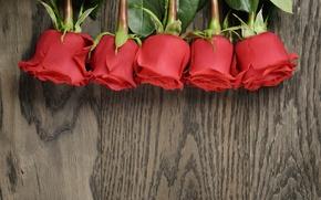 Картинка букет, red, wood, romantic, roses, красные розы