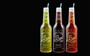Обои арт, Maxime Roz, Bec Cola Bottles, соломка, напиток