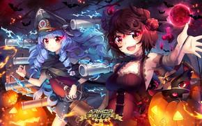 Обои костюмы, арт, halloween, squadra, armor blitz, девочки