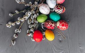 Картинка ветки, яйца, весна, colorful, Пасха, wood, верба, spring, Easter, eggs, decoration, Happy